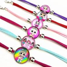 Jiangzimei 24pcs Cartoon  Girl glass Bracelets bangle for Kids Charm bracelet Earrings necklace ring keyring party gift