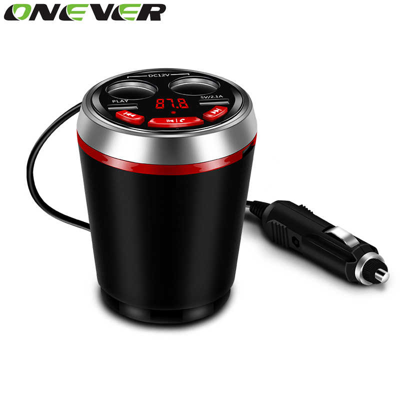 Onever 3 in 1 Bluetooth FM Transmitter Car Music MP3 Player Hands Free Car Kit Cup Holder Cigarette Lighter 2 USB Power