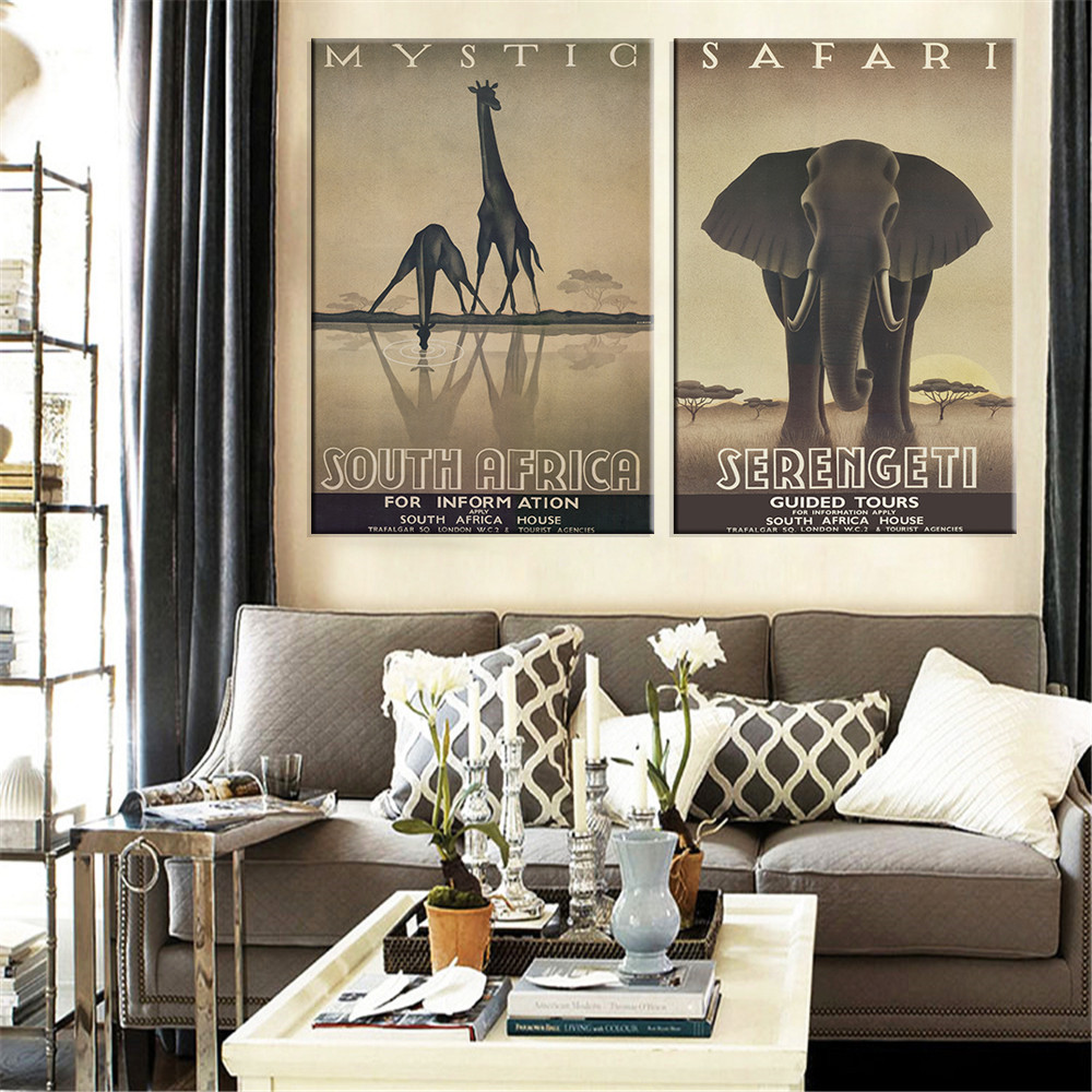 Modern Gray Giraffe Elephant Painting Canvas Wall Art African Animals Home Decor For Living