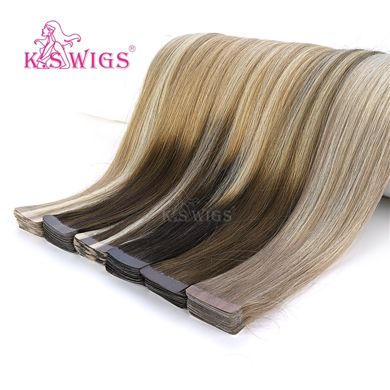 K.S WIGS 80pcs Straight Tape In Human Hair Double Drawn Remy Seamless Human Hair Extensions16'' 20'' 24''