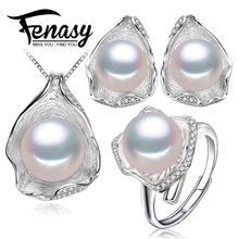 FENASY perla sistema de la joyería para las mujeres naturales de la perla retro conjuntos, 925 joyería de plata esterlina, caja de regalo de compromiso de la boda de la muchacha