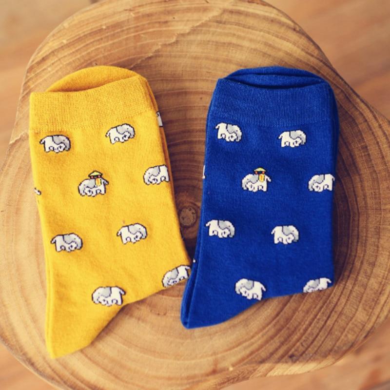 2018 Fashion New Elephant Pattern men/women Socks Cotton Creative Fun Cute Casual Harajuku Fun Design Blue men/women crew socks