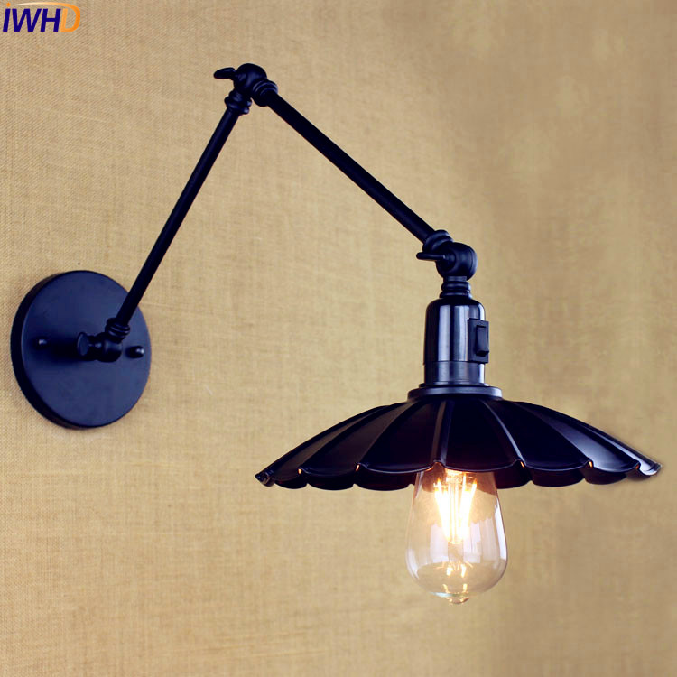 IWHD Black Long Arm Wall Light Fixtures Bedroom Switch Loft Retro Vintage Wall Lamp Edison Sconce Lampara Pared Industrial long swing arm retro vintage wall light fixtures edison rustic loft style industrial lamp wall sconce wandlampen lampara pared
