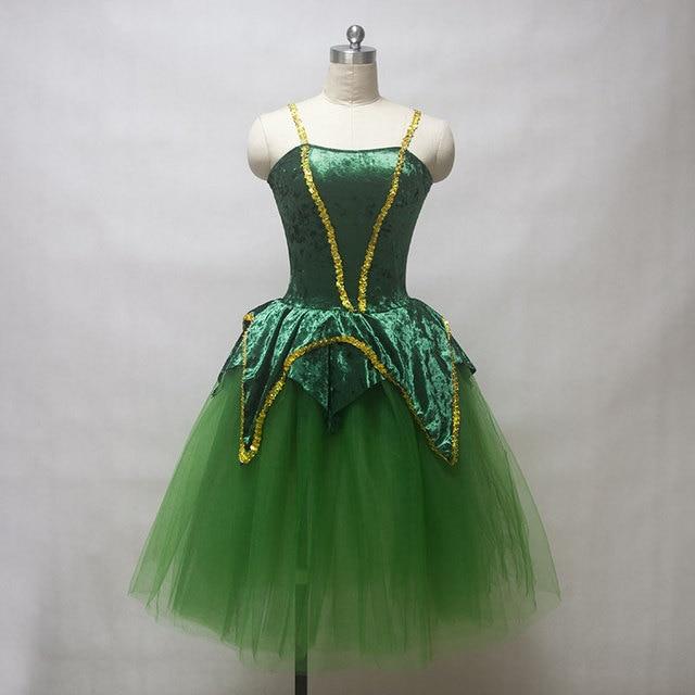 Nouvelle arrivée femmes ballet costume tutu vert velours corsage romantique ballet tutu dame costume de danse