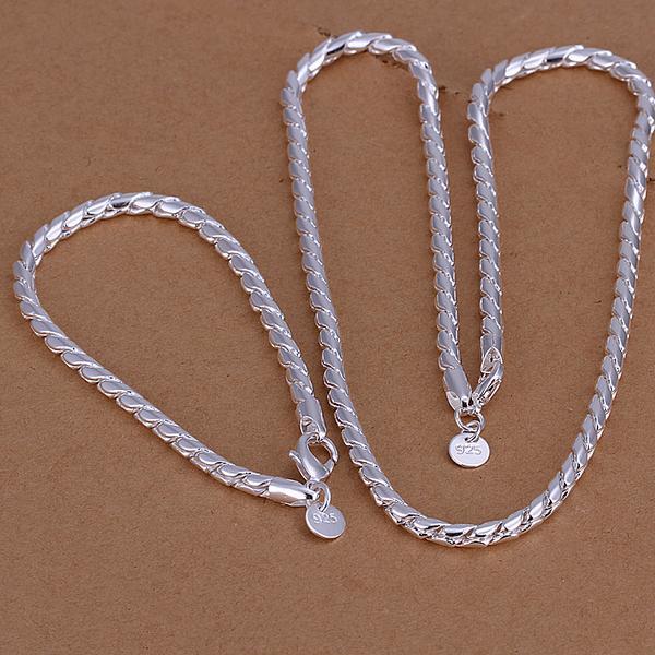 Free Shipping silver plated 925 jewelry set, fashion male jewlery set Twisted Line Necklace bracelet Two-Piece Jewelry Set
