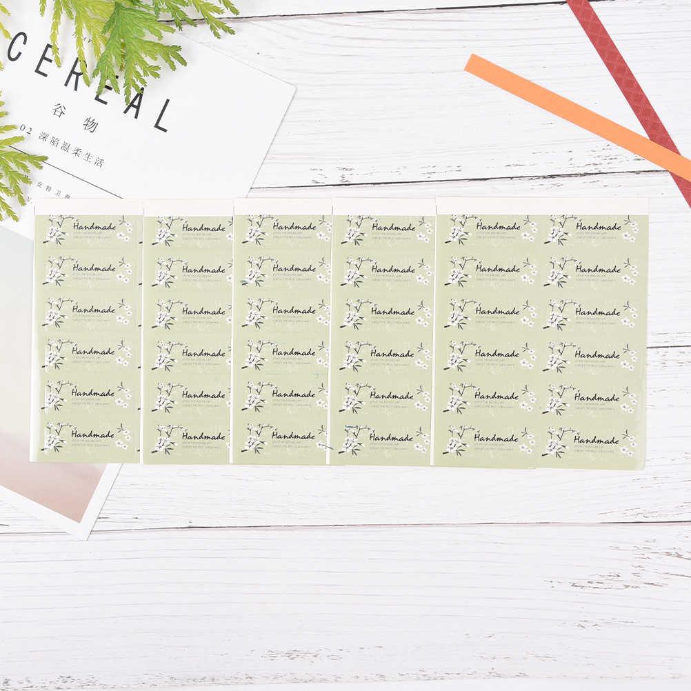 60 piezas/5 hojas hecho a mano sello etiqueta engomada de papel para la boda de Navidad de caramelo bolsa de embalaje de galletas caja DIY decorativo accesorios
