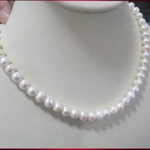 Горячая Акция 45 см длинные белые ювелирные изделия из настоящего жемчуга, 8-9 мм размер ожерелье из натурального жемчуга