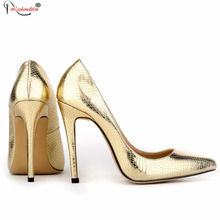 2015 Party Dress Womens Shoes Women Pumps Sexy Pointed Toe 11cm High Heels New Fashion Glitter Pump Gold Sliver Smynlk-10016c