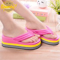2017 New Summer Woman Flops Thick Non Slip Bottom Cloth Slippers Home Furnishing High Heeled Sandals
