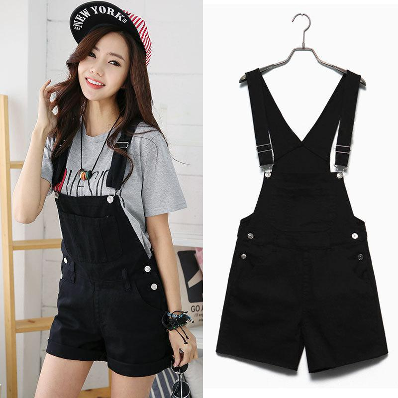 Yfashion Women Shorts Girls Summer Candy Color Casual Loose Cute Sweet Overalls Ladies Denim Women Clothes Suspender Bib Shorts