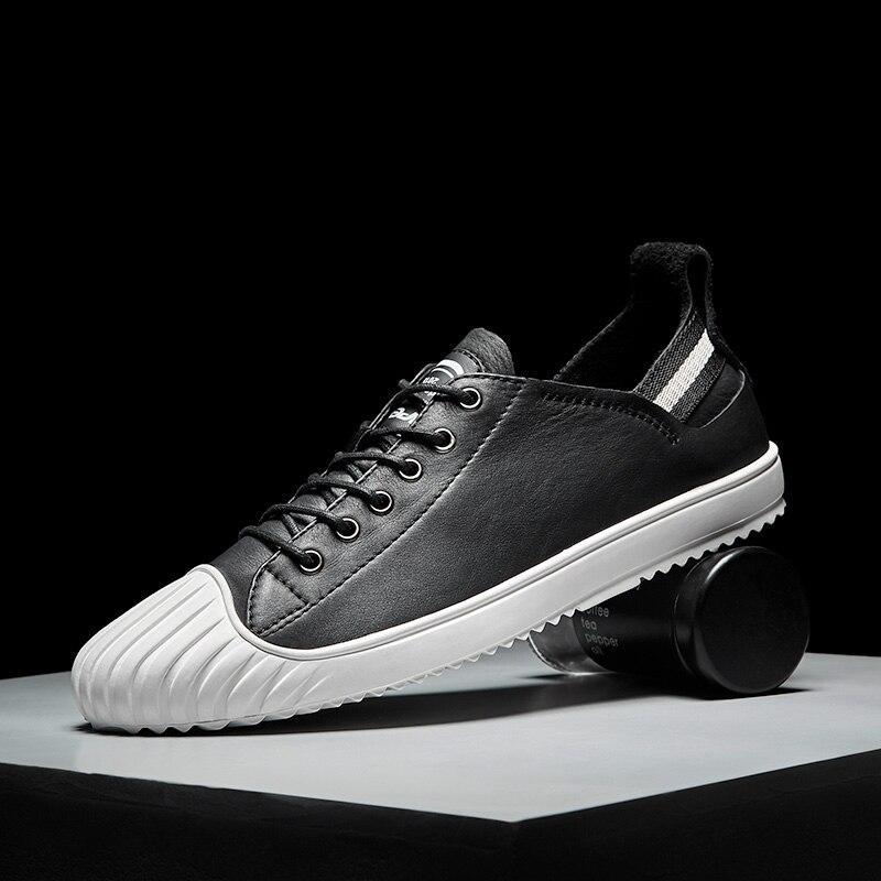 JMaiou marque de mode baskets en cuir chaussures décontractées hommes respirant classique noir blanc mâle chaussures Krasovki printemps été baskets