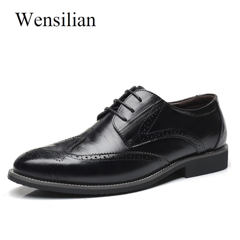 Men's Dress Shoes Leather Business Party Shoes Classic Formal Brogue Lace Up Summer Oxford Male Plus Size 38-47 chaussure homme цена 2017