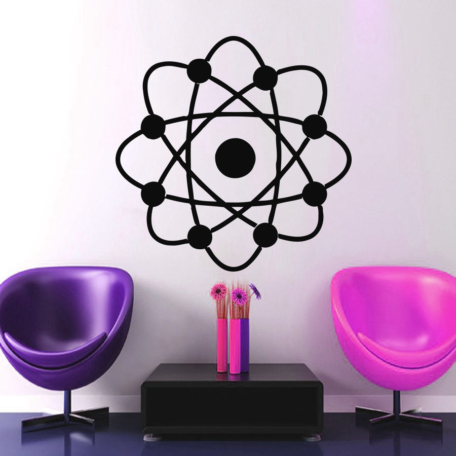 atom symbol wall decal plane vinyl sticker interior design suit nursery bedroom living room home decor