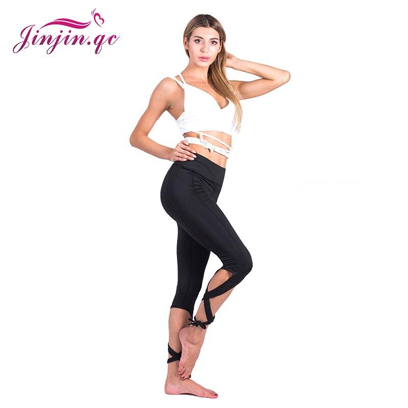 Jinjin Qc Wanita Celana Wanita Kebugaran Celana Panjang Hitam Polos Pinggang Tinggi Crisscross Tie Kebugaran Elastis Legging Legging Aliexpress