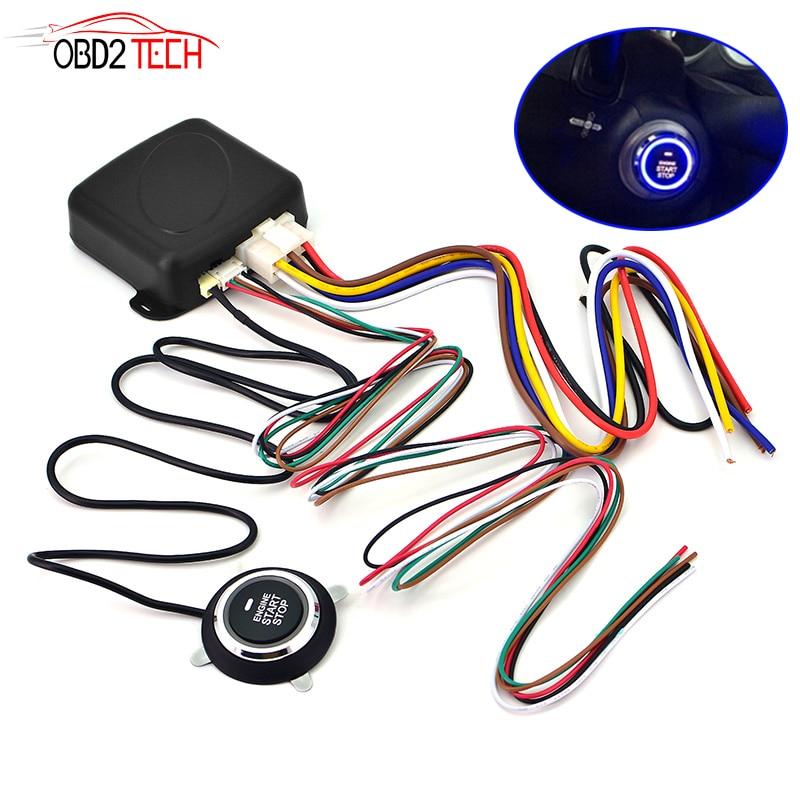 Auto Car Anti-theft System Alarm Engine Starline Push Button One Start Stop RFID Lock Ignition Switch Keyless Entry System