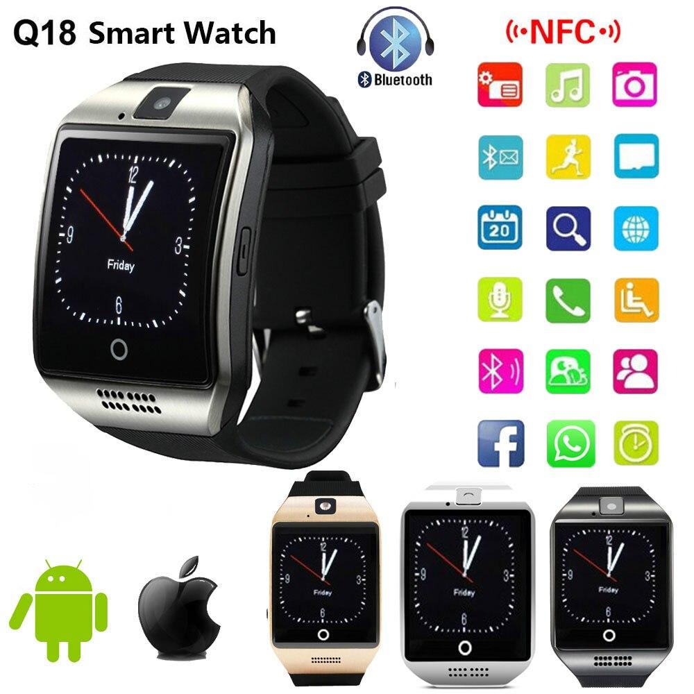 Bluetooth relógio inteligente q18 smartwatch suporte nfc sim cartão gsm câmera para android ios relógio inteligente telefone pk gt08 dz09