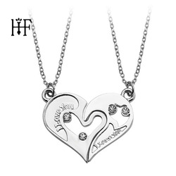 2 Pieces/Set Half love Heart Rhinestone Pendant Necklaces Friendship Gift for Couple Friend Alloy I LOVE YOU Necklace Gift