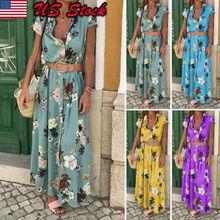 2019 Womens Maxi Boho Floral Summer Beach Long Slit Print Short Sleeves Evening Party Sun Dress