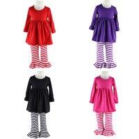 2016 Hot Sale Clothes Wennikids Spring & Autumn New Big Girls Clothing Sets Cotton Ruffle Kids Clothes Children Pant Set 6-12t