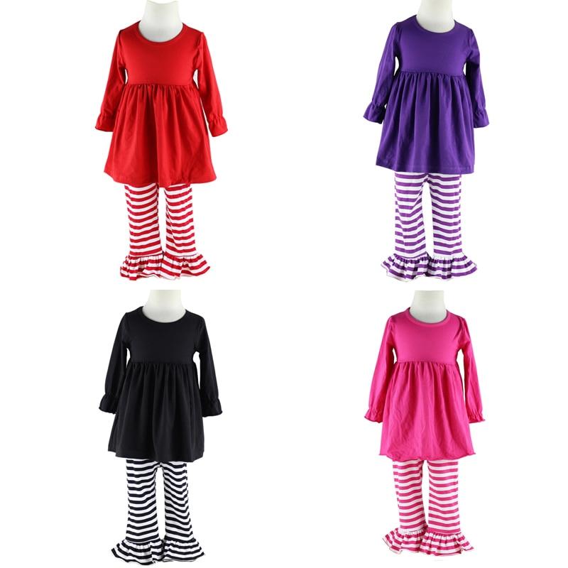 aranyos ruhák Wennikids tavasszal és ősszel új nagylányos ruházati szett pamut fodros gyerekeknek ruhák gyerekeknek Pant szett 6-12 éves korig