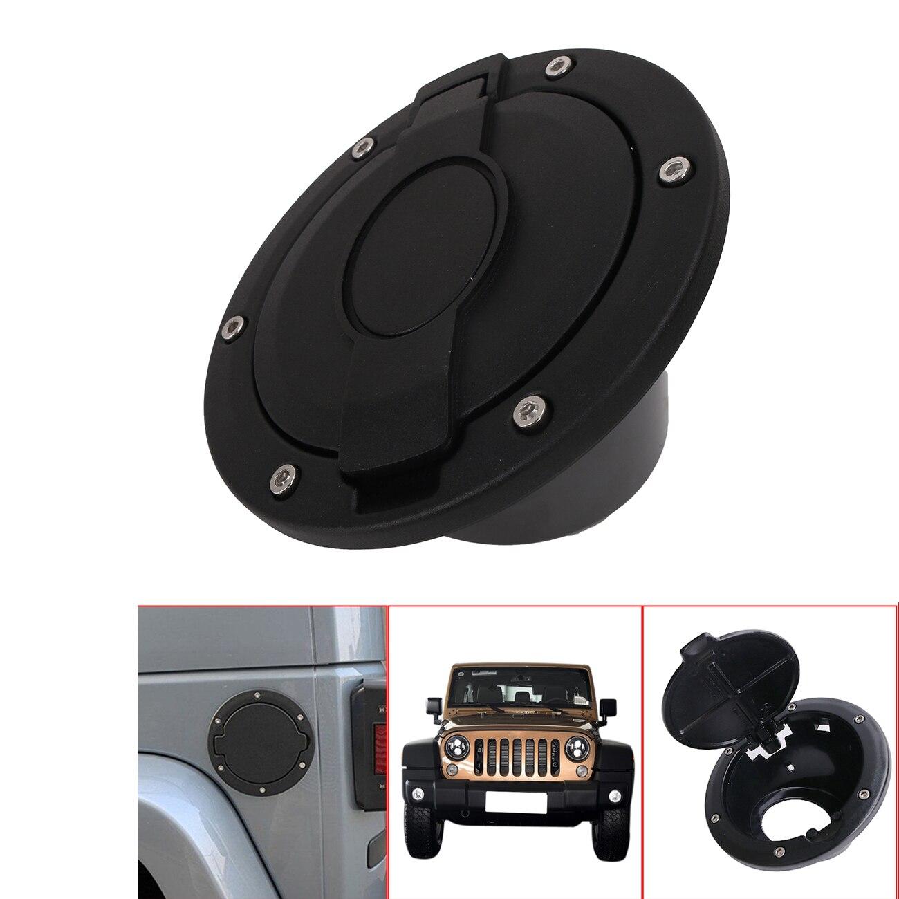 Car black fuel tank filler gas cap door cover trim for jeep wrangler jk 2
