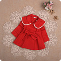 2017 Spring Kids Baby Girls Clothes Button Decoration Lace Cardigan Top Princess Baby Coat Baby trench Drop Shipping Blue