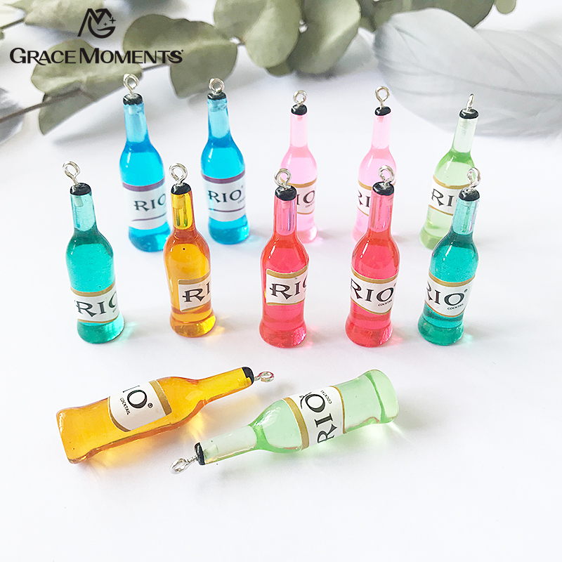 10pcs/lot HOT Beverage Bottle Pendant Charm Resin Accessories for Making DIY Earring Kids Girls Necklace Pendant Key Chain Charm