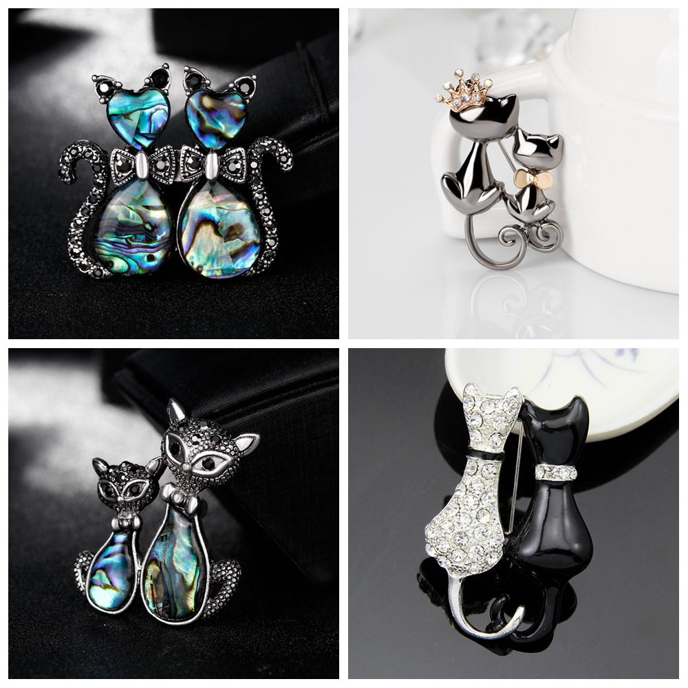 Lover or Sister Double Cat Brooch for Party Gift Shell Metal