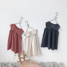 2019 Autumn new items Baby Girls Dresses Summer Preppy Style Linen Cotton Toddlers Kids Sleeveless Dress Children Clothes G008