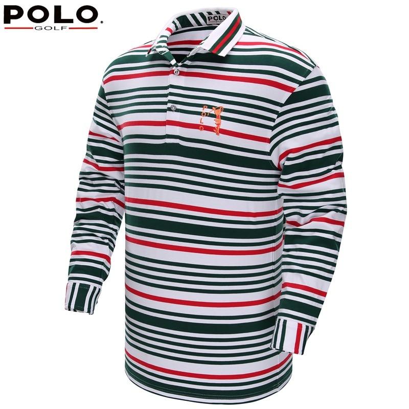 ФОТО 2017 Brand Polo golf polo shirt long sleeve Autumn sportwear striped golf clothing men with collar polera cuello hombre shirt