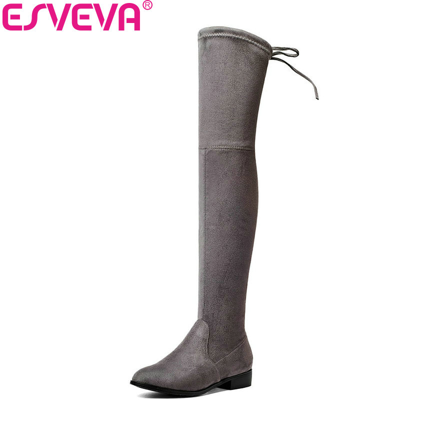ESVEVA 2018 Over The Knee Boots Square Med Heel Women Boots Sexy Ladies Lace Up Stretch Fabric Fashion Boots Black Size 34-43