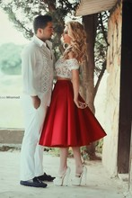 Sexy Off-Shoulder Lace Bodice With A Line Tea Length Red Satin Skirt Two Piece Prom Dress 2015 Special Occasion Dresses