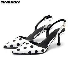 TINGHON Sexy Women Polka Dot High Heel Pumps Elegant Round Pointed Toe 6CM Thin Slip-On Office Ladies Shoes