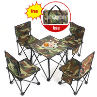 5 in 1 Camping Hiking Outdoor Foldable Chair Table Set Fishing Picnic BBQ Chair Seat Resting Stool ( 4pcs Chair + 1pc table)