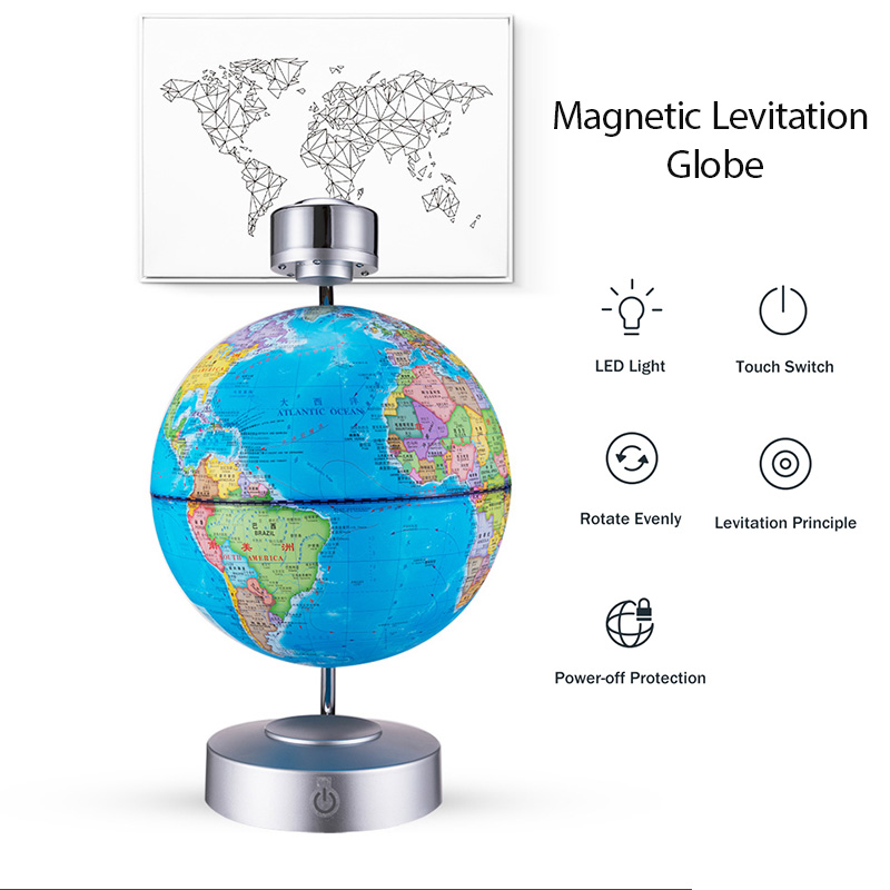 88 Constellations Magnetic Levitation Geography Globe with Night Light Floating World Map with LED Light Children Learning Toys in Decorative Balls from Home Garden