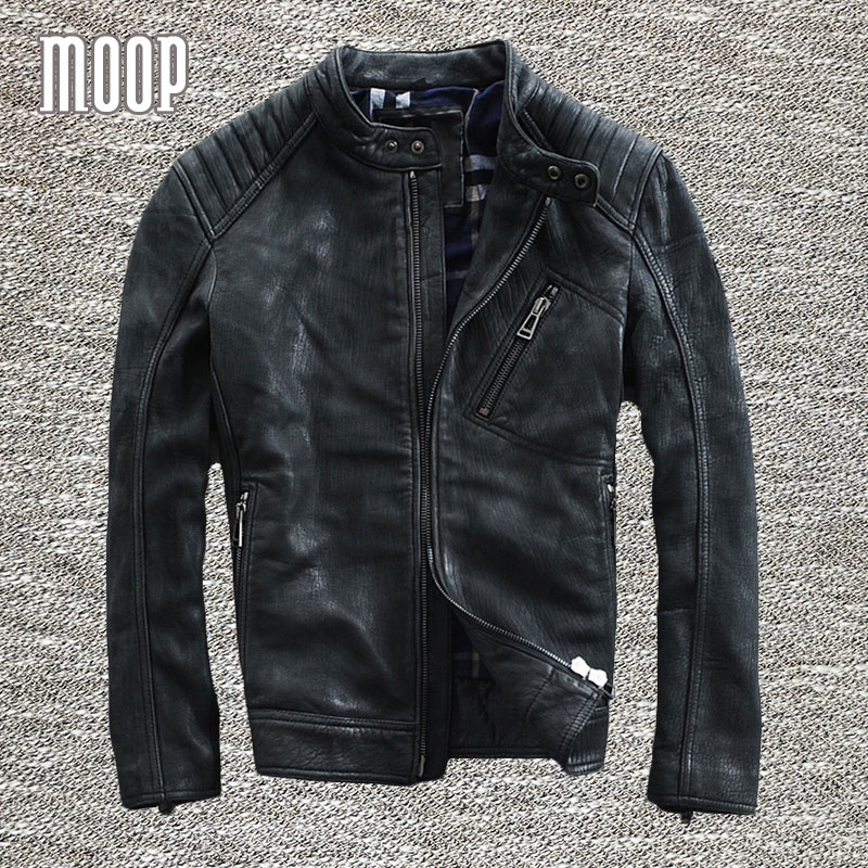 black genuine leather jacket coat men goatskin motorcycle. Black Bedroom Furniture Sets. Home Design Ideas