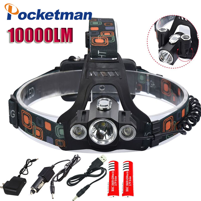 10000Lm Cree XML T6 Led lighting Head Lamp LED Headlamp Headlight Camping Fishing Light+2*18650 battery+Car EU/US charger