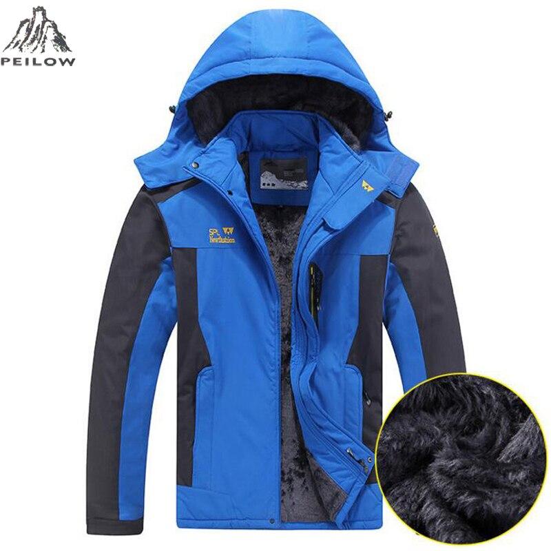 Peilow размер L ~ 5XL, 6XL, 7XL, 8XL зимняя куртка Для мужчин толстый бархат теплое пальто Термальность теплый ветрозащитный капюшон Куртки Для мужчин S...