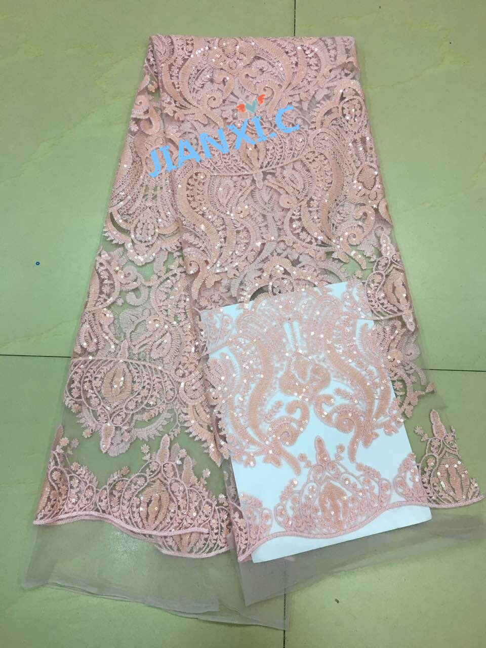 Nigerian wedding lace fabric JIANXI C 72210 top quality French embroidered net lace fabric with sequins