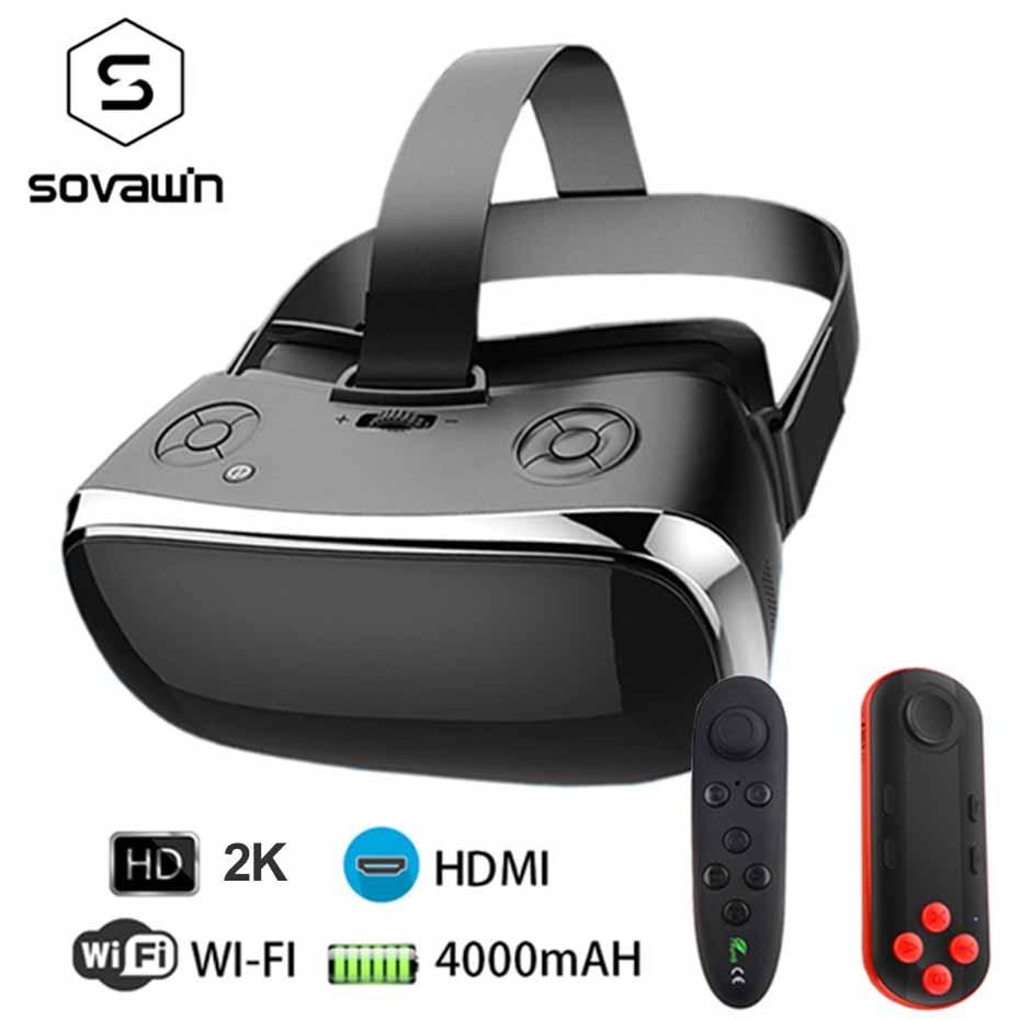 VR Tout-en-un Casque de Réalité Virtuelle 3D Glasse 2 k 2560*1440 120 FOV 2.4 GHDMI vidéo Boîte Bluetooth USB Port TF Slot Avec Gamepad