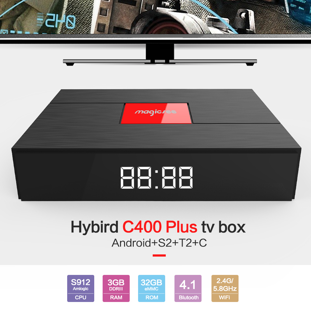 Magicsee C400 Plus Hybird Android TV Box S2 T2 C 3GB RAM 32GB ROM Amlogic S912 2.4G 5.8G WiFi 100Mbps BT4.1 Support 4K H.265