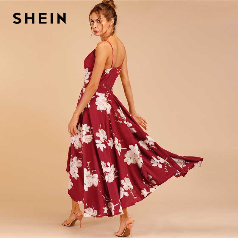 SHEIN сексуальное платье на бретельках с принтом в виде тюльпанов, женские платья без рукавов, летние платья с высокой талией