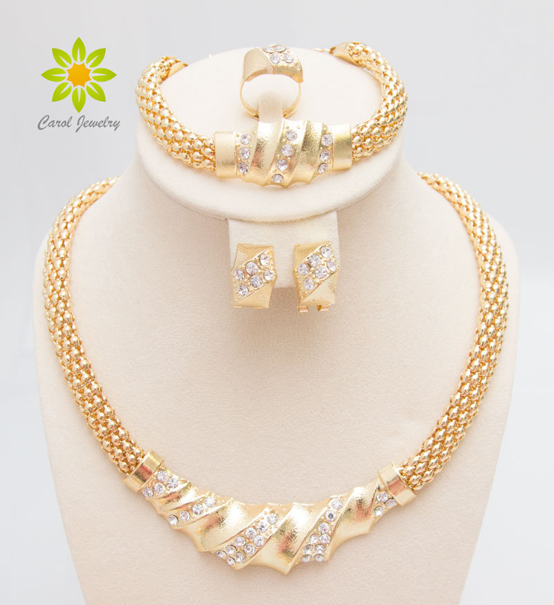Free Shipping African Gold Color Charming Fashion Romantic Bridal Fashion Necklace Crystal Vintage Women Costume Jewlery Sets(China)