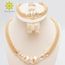 Fashion Necklace Costume Jewlery-Sets Crystal Vintage Women African Bridal Gold-Color