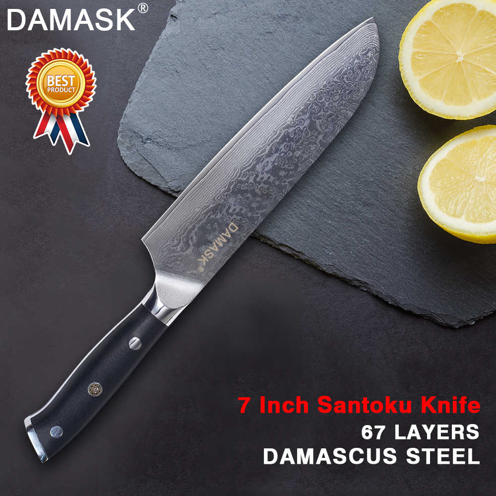 Damask High Grade Japanese Chef Santoku Kitchen Knife 67 Layers VG10 Damascus Steel Knife Professional Cook Accessories Cleaver