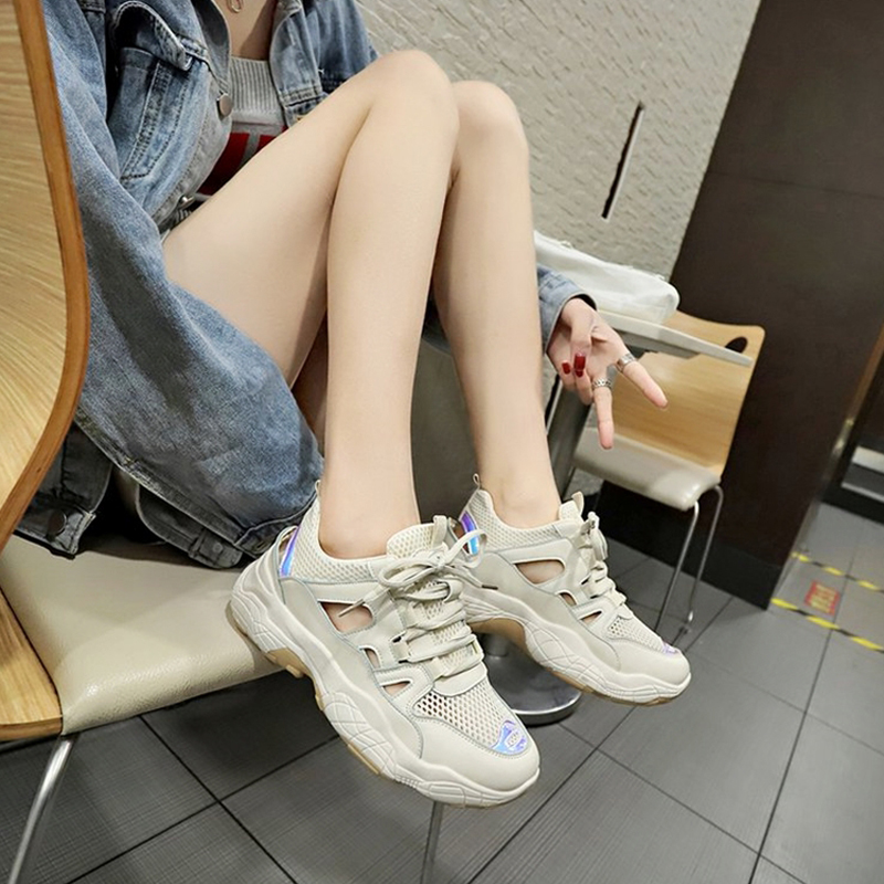 E TOY WORD Mesh old shoes female summer thick soled openwork womens sneakers 2019 new tide breathable mesh shoes student shoes in Women 39 s Vulcanize Shoes from Shoes