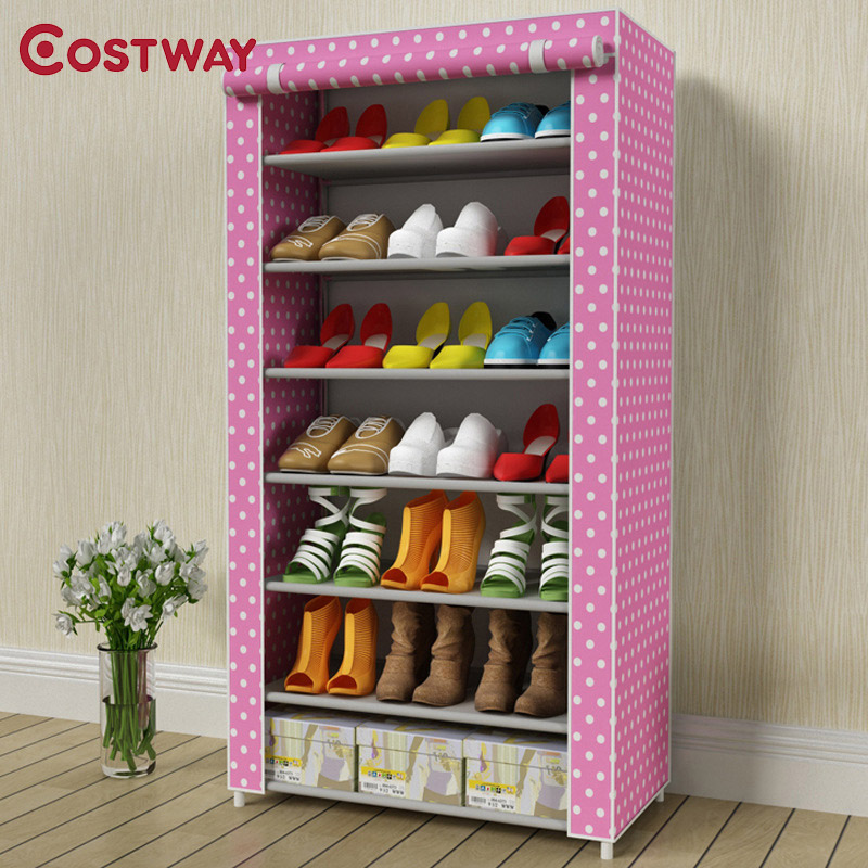 COSTWAY Non-woven 7 Tier Shoes Rack Stand Shelf Shoes Organizer Living Room Bedroom Storage Furniture W0188