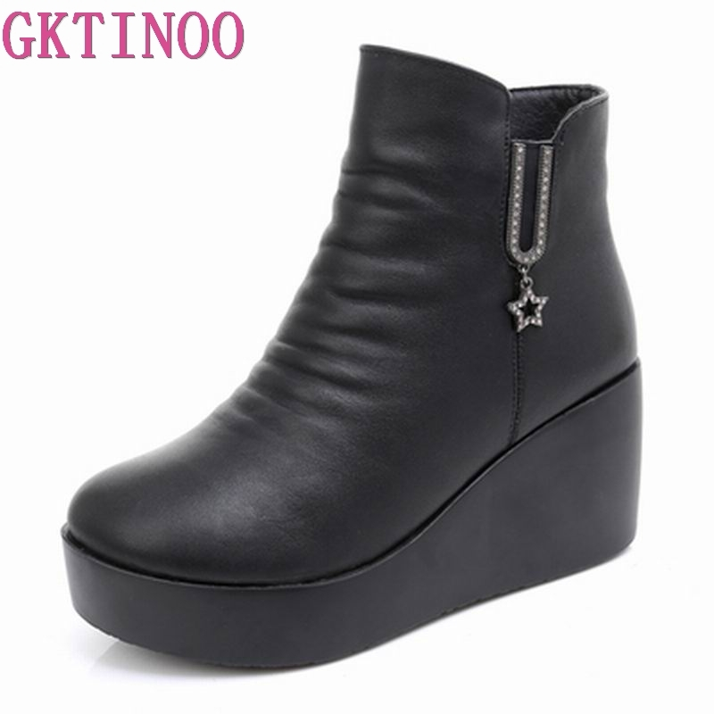 GKTINOO 2018 Genuine Leather Autumn Winter Boots Shoes Women Ankle Boots Female Wedges Boots Women Boot Platform ShoesGKTINOO 2018 Genuine Leather Autumn Winter Boots Shoes Women Ankle Boots Female Wedges Boots Women Boot Platform Shoes