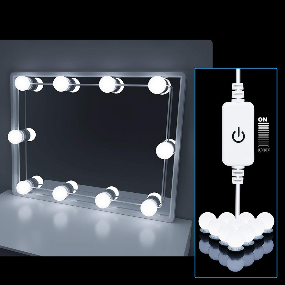 Makeup Mirror Vanity 10 LED Light Bulbs Kit 110V 220V Cosmetic Lighted Make Up Mirrors Bulb Adjustable Brightness Mirror Lights