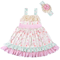 Baby Girls Clothes Kids Wear Summer Pink Soft Dress With Hairbow And Match Romper Boutique Sleeveless